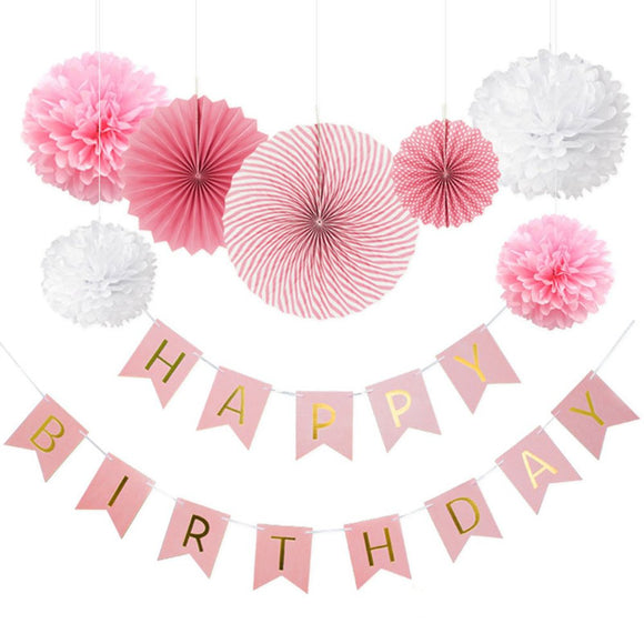 8-Pieces Pink Party Decoration Set-DIY Girls Birthday Party | Birthday Banner Flower Paper Fan Set First Birthday Party Decoration Set
