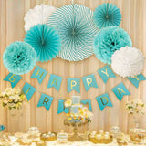 Blue Birthday Party Fan Set