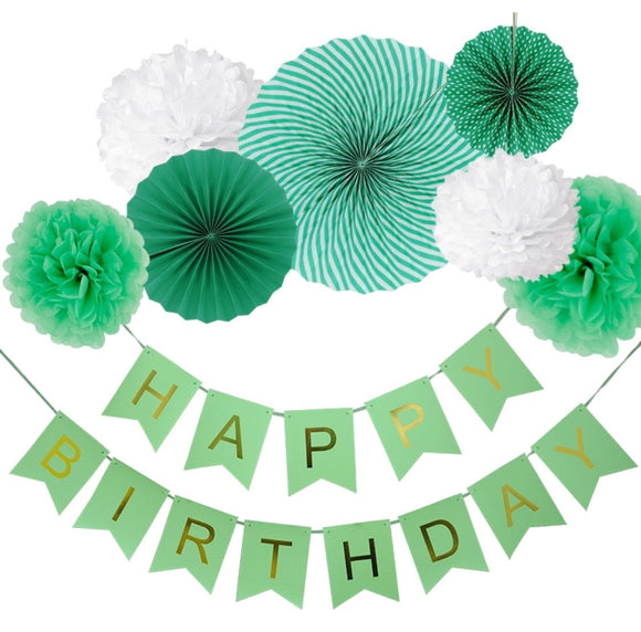 Green Theme Birthday Party Fan Decoration Set