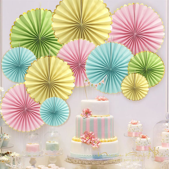 Pink, Yellow, Blue, Lime Rosette Party Fans - 12 Pcs Set