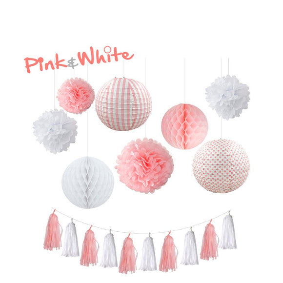 Pink and White Tissue Poms, Tassel & Lantern Set |Pink Baby Shower| Pink Girls Birthday Party | Pink Tassels| Pink Bridal Shower |Pink Party