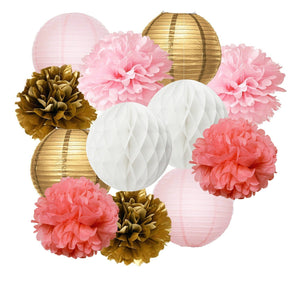 Coral, Pink Gold Party Tissue Poms & Lantern Set-DIY Girls Party Set, Paper Lantern| Grils Pink Baby Shower |Girls Birthday | Bridal Decor