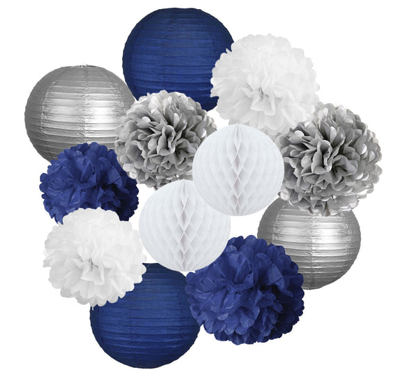 Navy blue, White and Silver Party Decoration-Lantern & Tissue Pom Kit|Boys Birthday Party Set,Boy Baby Shower| Father Day |Bachelor Party