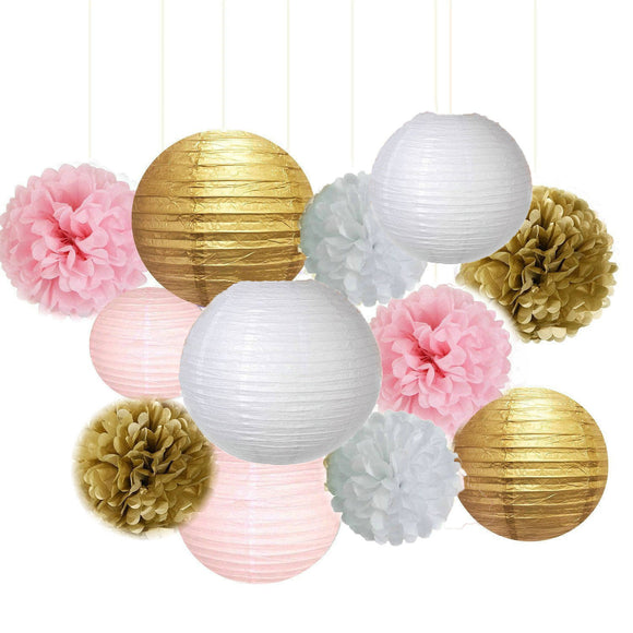 Pink Gold Party Tissue Poms & Lantern Set-DIY Girls Party Set, Paper Lantern| Grils Pink Baby Shower |Girls Birthday | Bridal Decor