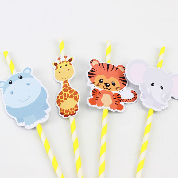 SAFARI ANIMALS Party Straw | Animals Straw Toppers| Safari Birthday Party | Zoo Animal Party Supply | Safari Party Decor| Zoo Animal Favors