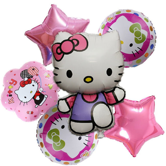 6pcs Hello Kitty Foil Balloon Bouqet |Hello Kitty Balloons | Hello Kitty Birthday | Hello Kitty Party Decor | Hello Kitty  Balloon Bouquet