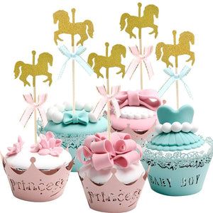 12 Gold Glitter Baby Carriage Cupcake Toppers//Picks w Pink RibbonBaby Shower