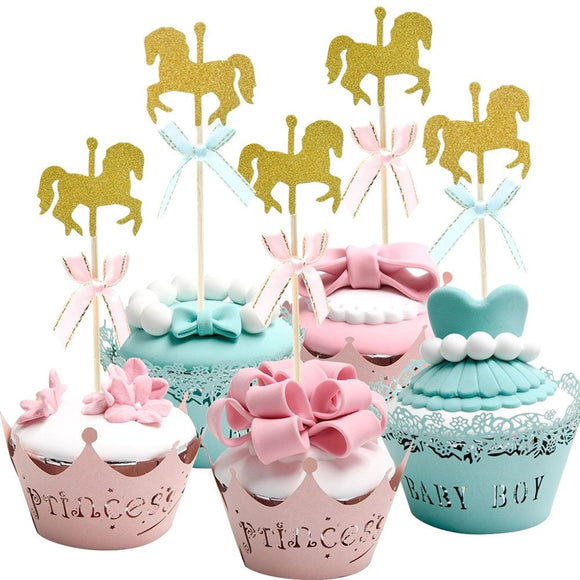 Carousel Horse Cupcake Topper, Glitter Gold Horse Cake topper, Carousel Baby Shower, Carousel Birthday Party, Gold Horse Cupcake Picks