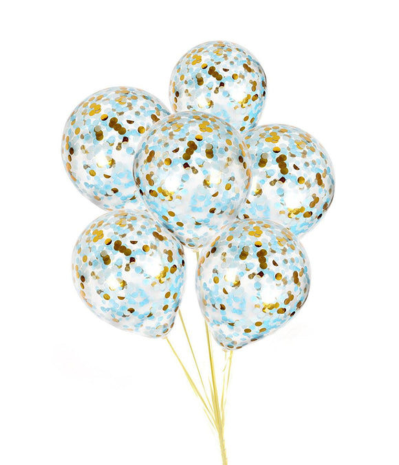 Blue and Gold Confetti Balloons