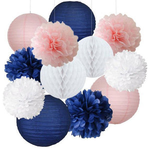 Navy Blue, White and Pink Party Pom Poms Set-Girls Birthday Party Set, Paper Lantern| Girls Baby Shower |Mom Birhtday|Bridal Shower |Sailor