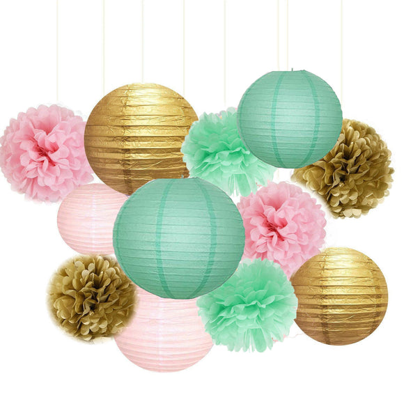 Pink, Mint and Gold Party Pom Poms Set-Girls Birthday Party Set, Paper Lantern| Girls Baby Shower |Bridal Shower | Princess Party