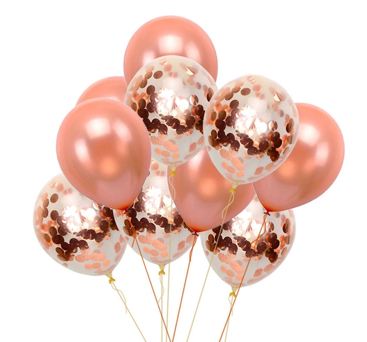Rose Gold Balloons Rose Gold Pink Confetti Balloons Bouquet Girls Bab Happy Party Supply