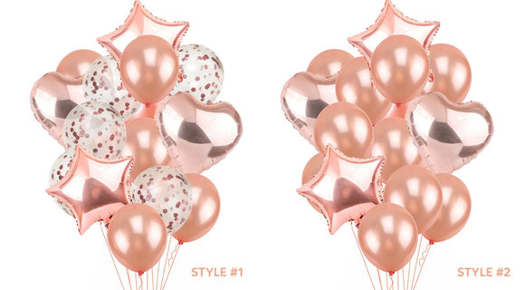 ROSE GOLD BALLOONS-Rose Gold Pink Confetti Balloons Bouquet, Heart Balloons, Star Balloons, Girls Baby Shower Balloon, Girls Party Balloons