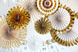 GOLD PARTY FAN Set- 8 Pieces Rosette Fans | Gold Birthday Party |Baby Shower | Gold Bridal Shower | Gold Fans Backdrop | Gold Party Fans