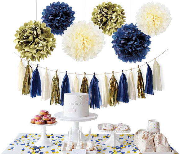 NAVY GOLD PARTY Decoration Set-Navy, Gold, Cream Flower Poms and Lantern Kit-Dark Blue Birthday Party, Boys Baby Shower, Bachelor Party