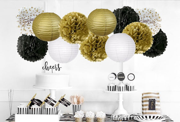BLACK GOLD White Party Flower Poms & Lantern Set-DIY Mens Party Set | Graduation Party| Dads, Husband, Grandpa Birthday Decoration Set