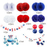 Nautical Party Decoration Set DIY 1st Birthday Nautical Paper Banner,Cupcake Topper,Paper Fans,Pom Baby Shower| Navy,Red,White Party Theme