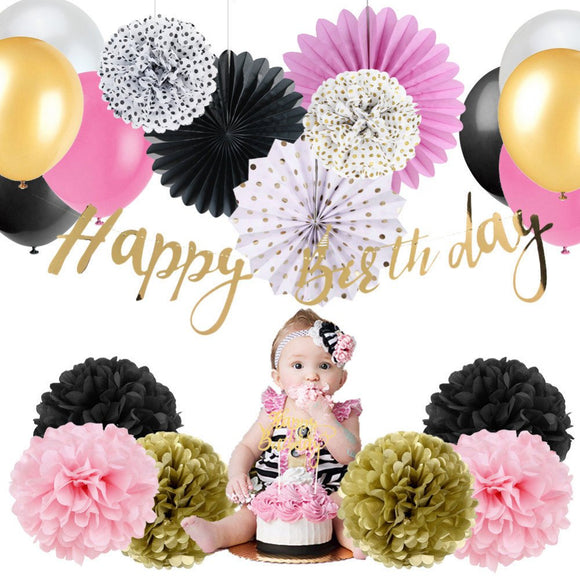 First Birthday Party Girls Pink, Black Gold Theme Decoration Set | Happy Birthday Banner | Cake Topper |Girl Birthday Party Decor| 1ST Party