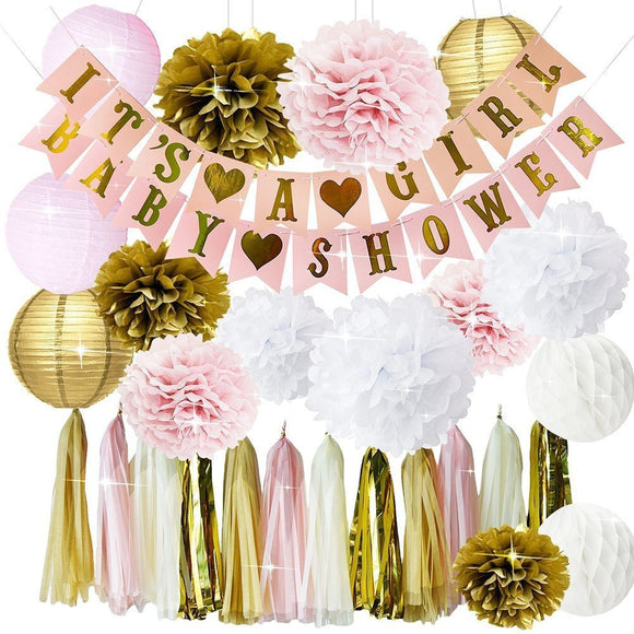 Pink and Gold Baby Shower Decorations for Girl - Its A Girl Banner & BABY SHOWER Banner| Gender Revea Party Kit Decor | Pink Gold Poms
