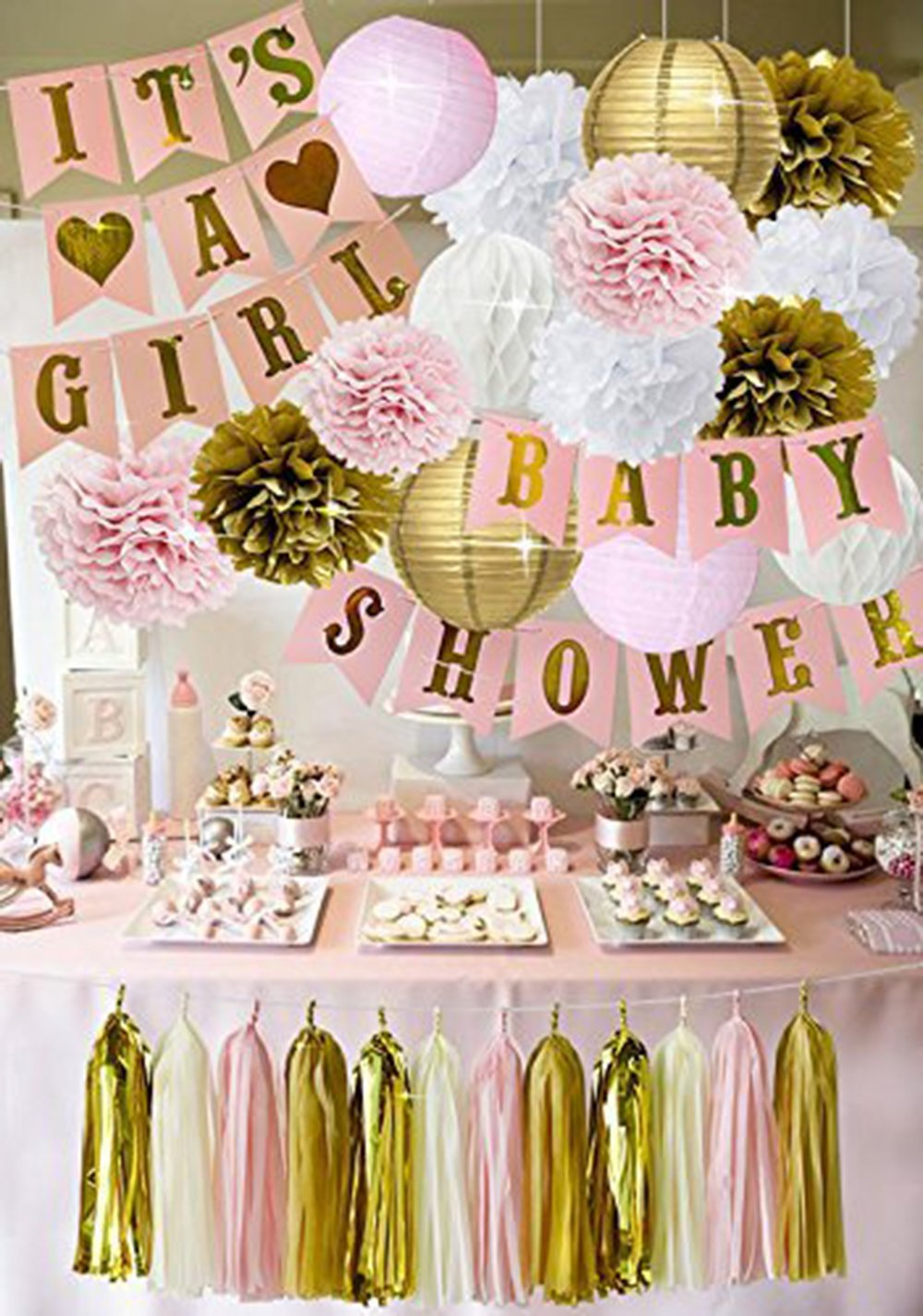 Pink And Gold Baby Shower Decorations For Girl Its A Girl