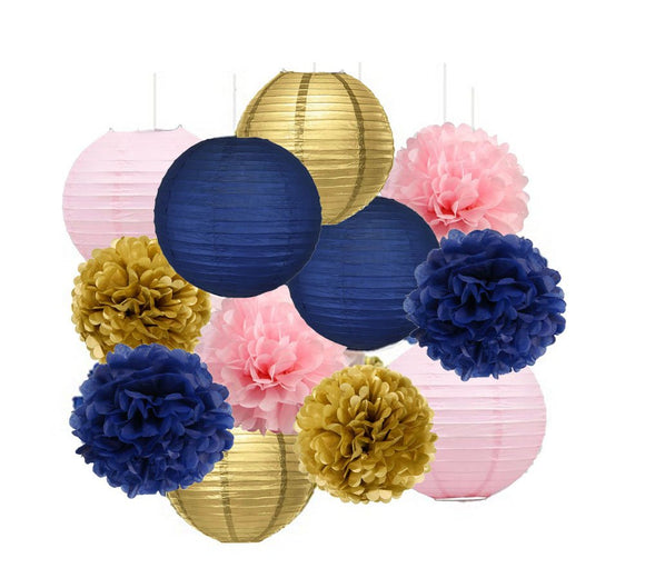 Navy Blue, Gold, Pink Party Pom Poms Set-Girls Birthday Party Set, Paper Lantern| Girls Baby Shower |Mom Birhtday|Graduation Party