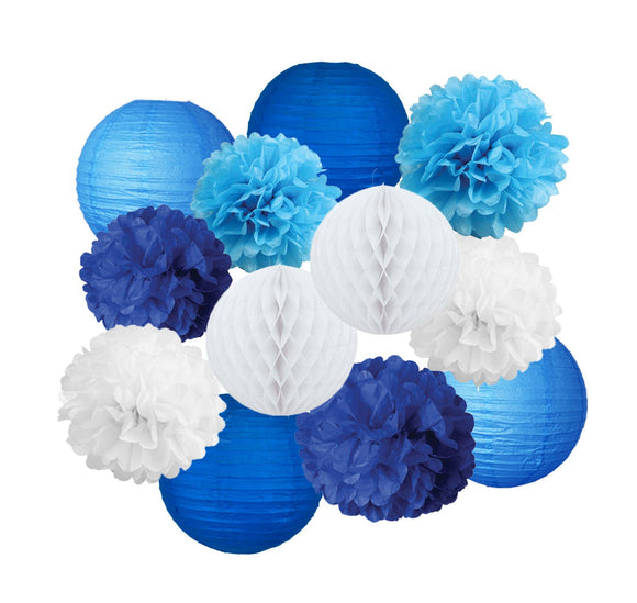 Blue, Light Blue, White Party Tissue Poms & Lantern Delux Set-DIY Boys Party Set, Paper Lantern| Blue Baby Shower |Blue Birthday Theme