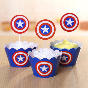 CAPTAIN AMERICA Cupcake Toppers and Wrappers | Captain America Party Favors | Captain America Birthday Party | Captain America Cake Topper