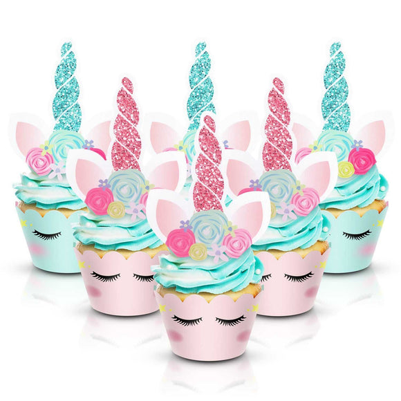 UNICORN CUPCAKE Toppers and Wrappers | Unicorn Party Favors | Unicorn Birthday Party | Unicorn Cake Topper, Unicorn Cupcake Picks