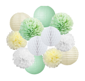 GREEN BABY SHOWER Decoration Set-Sage Green White Poms & Lantern, First Year Birthday, Boys Cake Smash Decoration, Mint Green Pastel Wedding