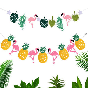 PINK FLAMINGO PARTY Banner-Flamingo Garland, Tropical Party, Hawaiian Party Banner, Pineapple Banner, Pineapple Party Decoration