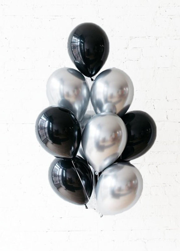 BLACK TIE BALLOONS - Silver & Black Chrome Balloon Bouquet- Metallic Latex Balloons, Black Party Balloons, Graduation Balloon, Bachelorette