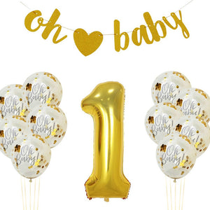 GOLD BABY SHOWER, Gold First Birthday, Number 1 Foil Balloons | 1st Birthday Party