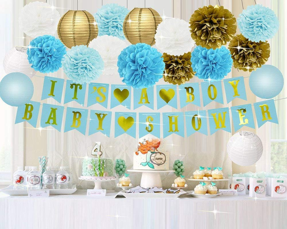 boy 39 s baby shower decorations set it 39 s a boy banner baby. Black Bedroom Furniture Sets. Home Design Ideas