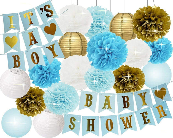 BOY'S BABY SHOWER Decorations Set-It's A Boy Banner, Baby Blue Shower Party Kit, Blue Gold Flower Poms, Baby Shower Party
