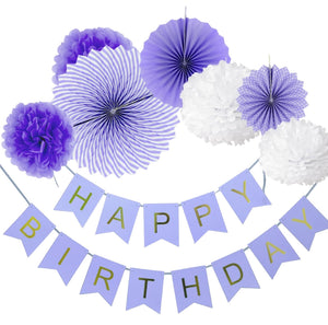 Purple Birthday Party Fan Decoration Set