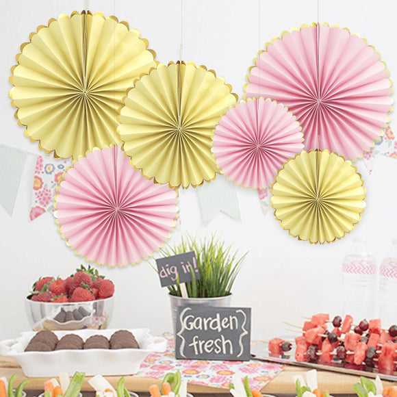 6-PCS Pink, Yellow, Party Fans Set-Girls Birthday Party | Flower Paper Fan Set| First Birthday Party |Baby Shower|Bridal Shower | Back Drop