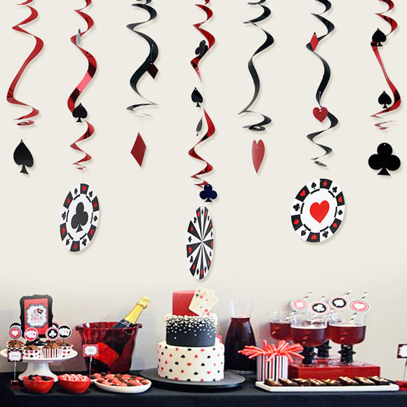 CASINO SWIRLS - Casino Party, Las Vegas Themed Party Decoration, Poker Card Decor, Vegas Party, Poker Game Decoration, Casino Hanging Party