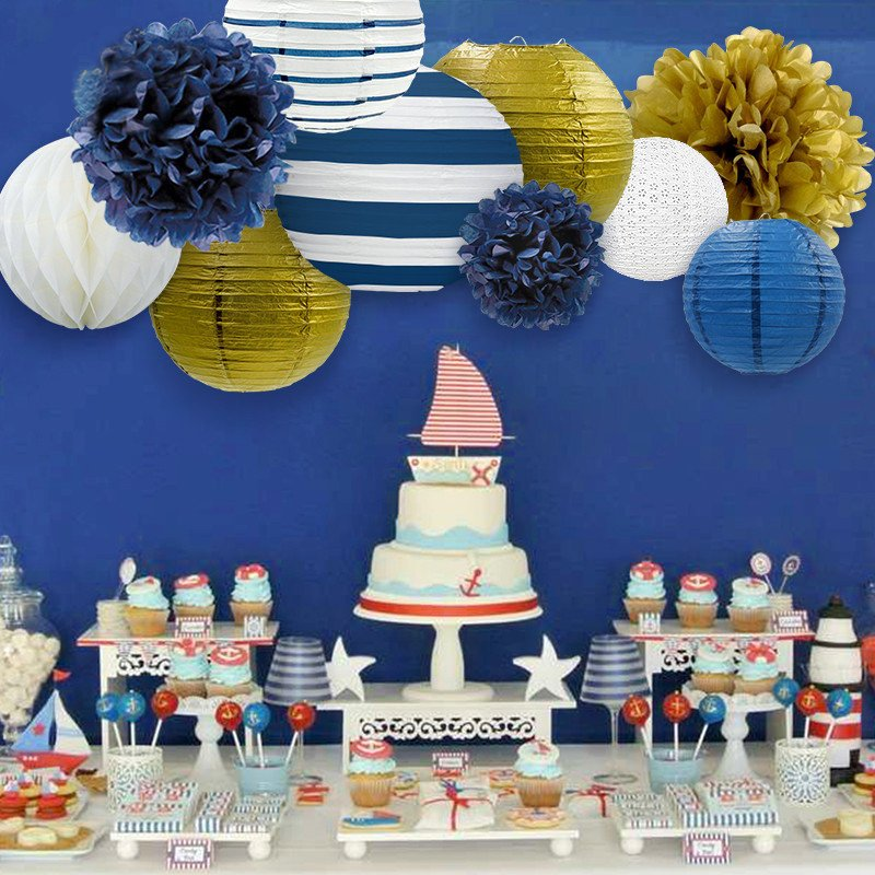 Navy Blue White And Gold Nautical Party Decoration Lantern Tissue