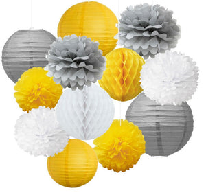 Yellow, Gray, and White Party Poms & Lantern Deluxe Kit -Yellow Birthday Party, Boys Birthday Party Decor | Baby Boy Shower | Boys Nursery