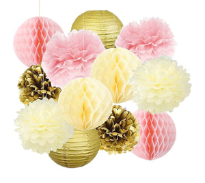 PINK GOLD PARTY Decoration Set | Pink and Gold Party Poms & Lantern | Girls Birthday Party| Girls Baby Shower | Princess Gold Wedding Decor