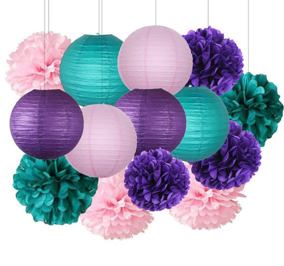 Teal, Pink, Purple Party Tissue Poms & Lantern Set-DIY Mermaid Party Set| Girls Baby Showe r| Girls Birthday Party| Green Pink Purple Party