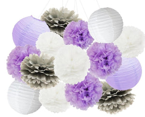 Purple, Lavender, Gray, White Party Tissue Poms & Lantern Set-DIY Purple Girls Birthday Party Set| Purple Baby Shower |Purple Bridal Shower