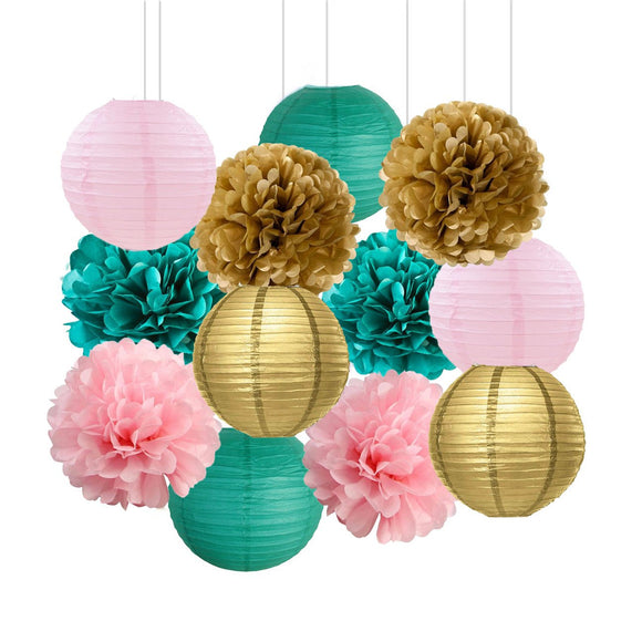 Teal, Pink, Gold Party Tissue Poms & Lantern Set-Bridal Shower| Girls Baby Shower| Girls Birthday Party| Teal Pink Gold  Party