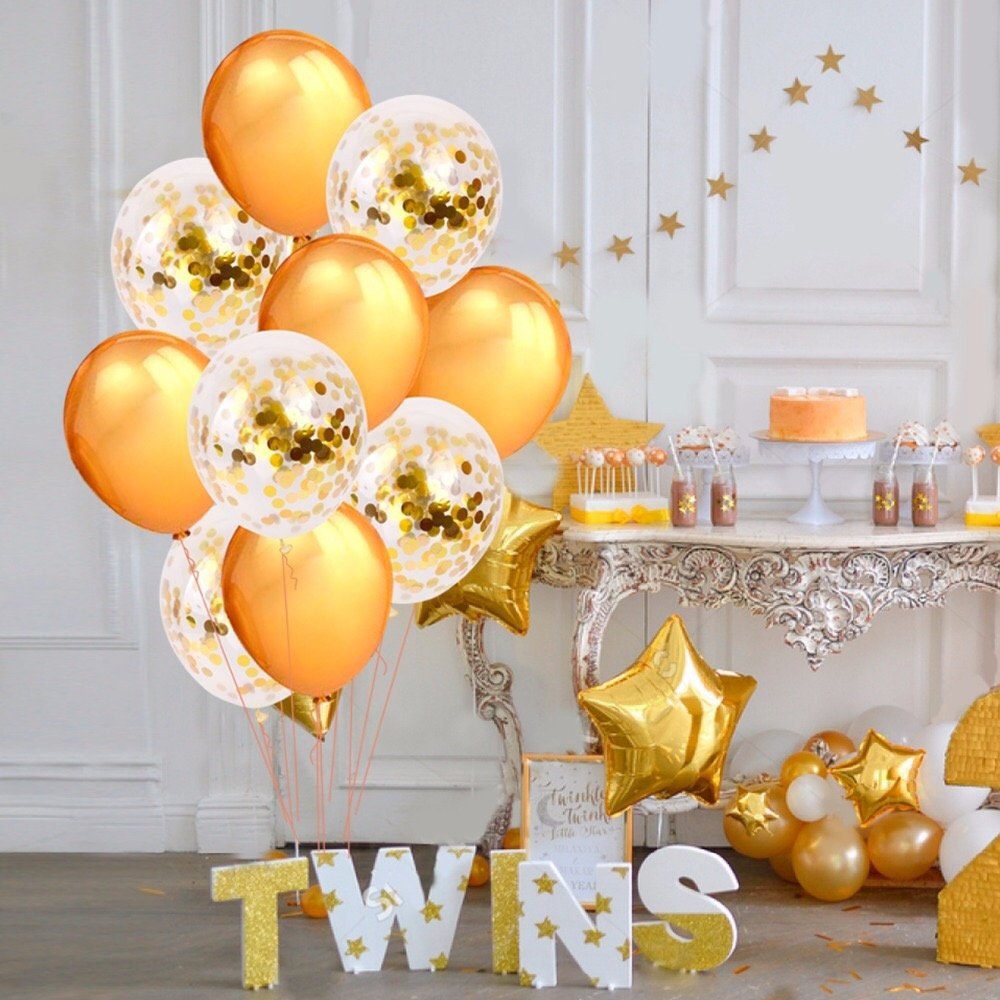 Clear Confetti Filled Balloons Baby Shower Birthday Party Wedding Xmas Decor