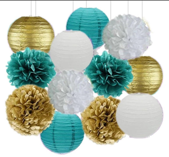 Green, White, Gold Party Tissue Poms & Lantern Set-DIY Party Set, Fathers Birthday, Boys Baby Shower, Boys Birthday Party, Bachelor Party
