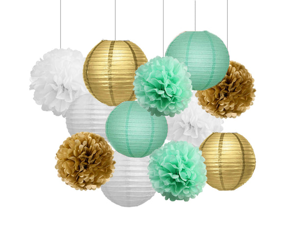Mint, White, Gold Party Tissue Poms & Lantern Delux Set-DIY Girls Party Set| Mint Baby Shower | Mint Bridal Shower | Mint Gold Wedding Decor