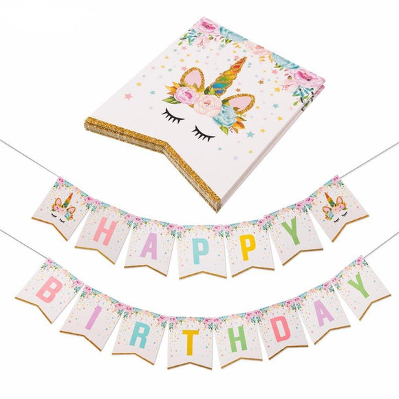 UNICORN HAPPY Birthday Party Decoration Banner | Unicorn Birthday Banner | Unicorn Party | Unicorn Party Set | Girls Birthday Party
