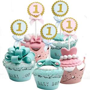 ONE YEAR Cupcake Topper, One Year Cupcake Picks, First Baby Birthday, First Year Cake Decor, Baby Blue Cupcake Topper, Pink Baby Cupcake