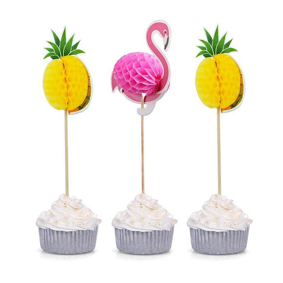 HAWAIIN PARTY DECOR-Flamingo Cupcake Topper, Pineapple Cupcake Topper, Summer Party, Cake Decoration, Flamingo Party Decoration, Luau party