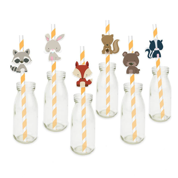 Woodland Animal Party Straw | Woodland Straw Toppers| Woodland party Straw | Forest Animal Party | Fox Party Decor| Woodland Favors